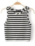 Romwe Black Striped Crop Top