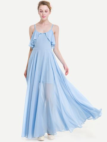 Romwe Crisscross Back Frill Trim Chiffon Dress