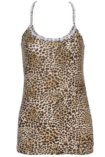 Romwe Romwe Coffee Leopard Print Diamante Vest