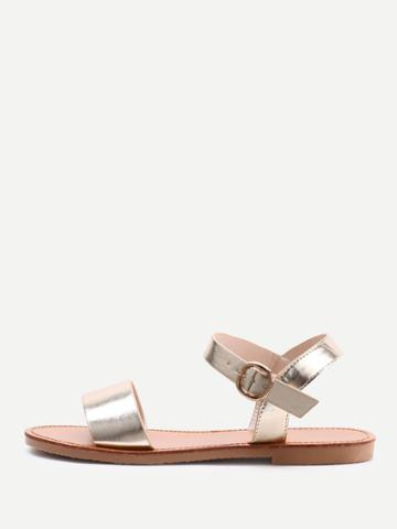 Romwe Metallic Open Toe Sandals
