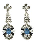 Romwe Silver Flower Water Drop Earrings