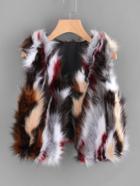 Romwe Open Front Faux Fur Vest