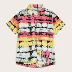 Romwe Guys Tie Dye Revere Collar Shirt