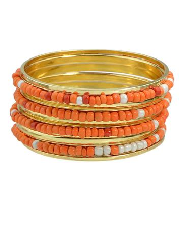Romwe Orange Beads Bracelets And Bangles
