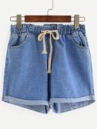 Romwe Blue Drawstring Waist Cuffed Denim Shorts