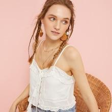 Romwe Contrast Lace Knot Cami Top