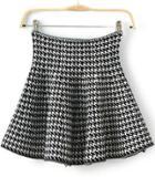 Romwe Houndstooth Print Flare Skirt