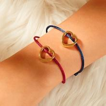 Romwe Heart Shaped Bracelet 2pcs