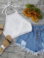 Romwe Halterneck Self-tie Crochet Top