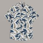 Romwe Guys Revere Collar Palm Leaf Print Shirt