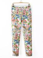 Romwe Multicolor Floral Zipper Side Skinny Pants