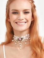 Romwe White Royal Pearl Flower Lace Necklace