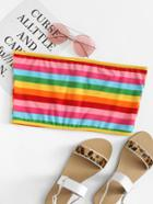 Romwe Colorful Striped Crop Tube Top
