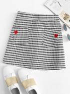 Romwe Heart Embroidered Plaid Skirt