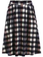 Romwe Plaid Zipper Midi Skirt