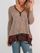 Romwe Grey V Neck Plaid Hem Tshirt