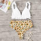 Romwe Frill Strap Top With Random Flower High Waist Bikini