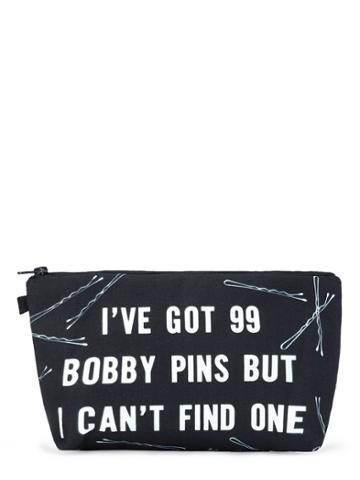 Romwe Slogan & Pin Print Makeup Bag