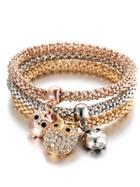 Romwe Multicolor Owl Charm Bracelet 3pcs