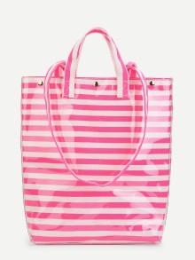 Romwe Striped Tote Bag With Convertible Strap