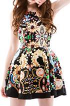 Romwe Floral Print Sleeveless Dress