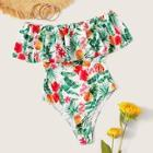Romwe Cut-out Back Flounce Tropical One Piece Swimsuit