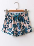 Romwe Drawstring Waist Floral Shorts