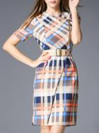 Romwe Multicolor Crew Neck Plaid Belted Dress