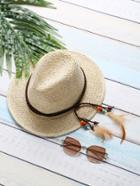 Romwe Beige Feather Detail Straw Hat