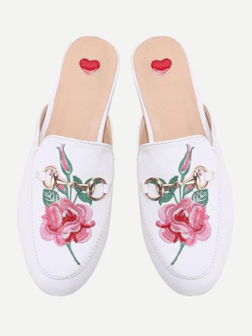 Romwe White Flower Embroidery Loafer Mules