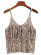 Romwe Hollow Out Fringe Cami Top