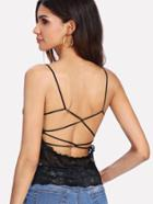 Romwe Strappy Back Lace Top