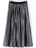 Romwe Grey Pleated Velvet Midi Skirt