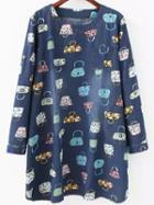Romwe Bag Print Denim Tshirt Dress