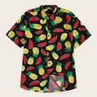 Romwe Guys Button Up Fruit Print Shirt
