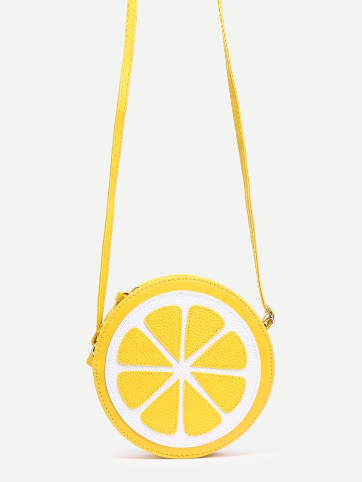 Romwe Yellow Lemon Shaped Crossbody Bag