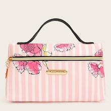 Romwe Flower Pattern Striped Makeup Bag With Handle Strap