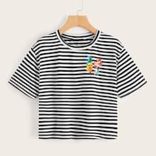 Romwe Emoji X Romwe Striped Print Tee