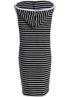 Romwe Hooded Sleeveless Striped Dress