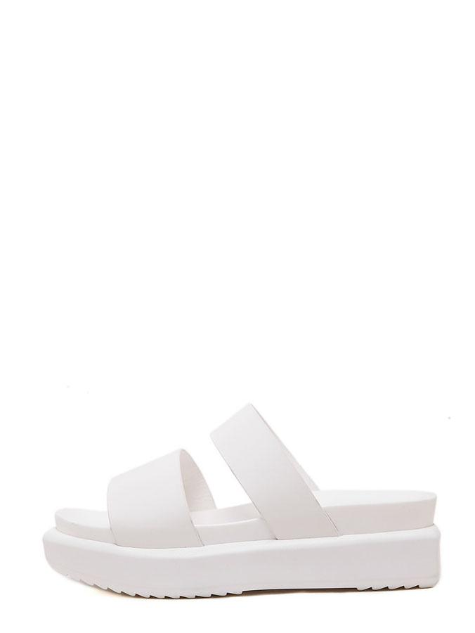Romwe White Open Toe Block Platform Slippers