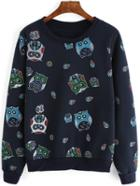 Romwe Owl Print Navy Sweatshirt