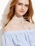 Romwe White Minimalist Bow Necklace