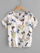 Romwe Butterfly Print Drawstring Top