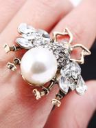 Romwe Rhinestone Insect Design Ring