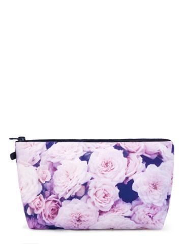 Romwe Flower Print Zipper Makeup Bag
