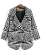 Romwe Lapel Houndstooth Woolen Coat