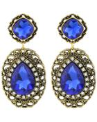 Romwe Blue Gemstone Gold Hollow Earrings