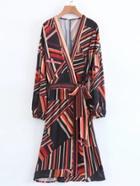 Romwe Self Tie Striped Surplice Dress