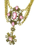 Romwe Pink Gemstone Bead Chain Necklace
