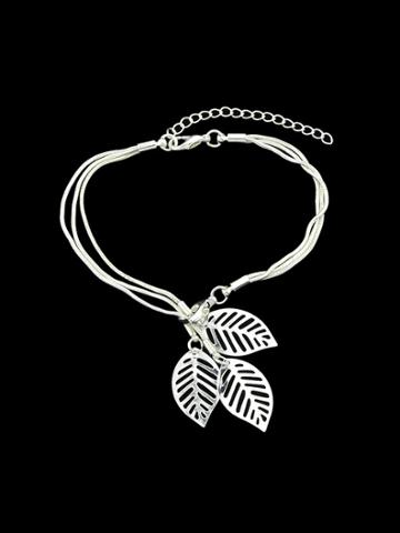 Romwe Silver Multi Layers Chain With Leaf Shape Charm Bracelets